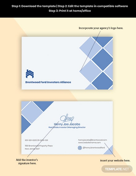 Real Estate Investor Business Card Format