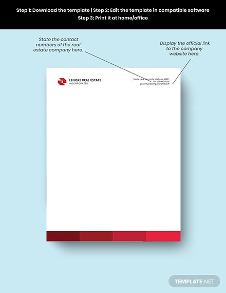 Professional Real Estate Letterhead editable