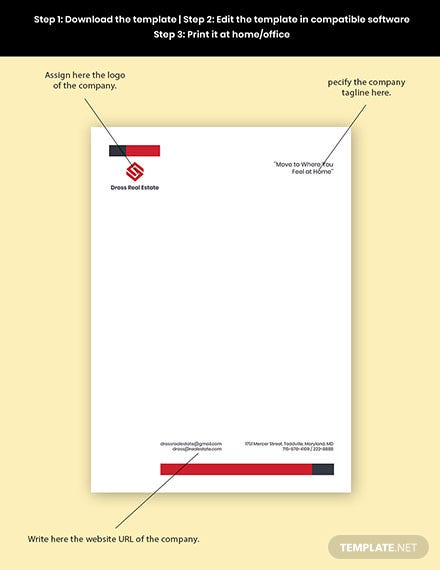Commercial Real Estate Letterhead Template Format