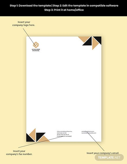 Luxury Real Estate Letterhead Template Format
