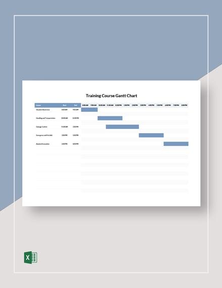 Training Course Gantt Chart Template