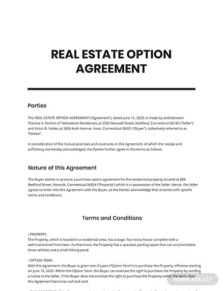 Real Estate Option Agreement Template