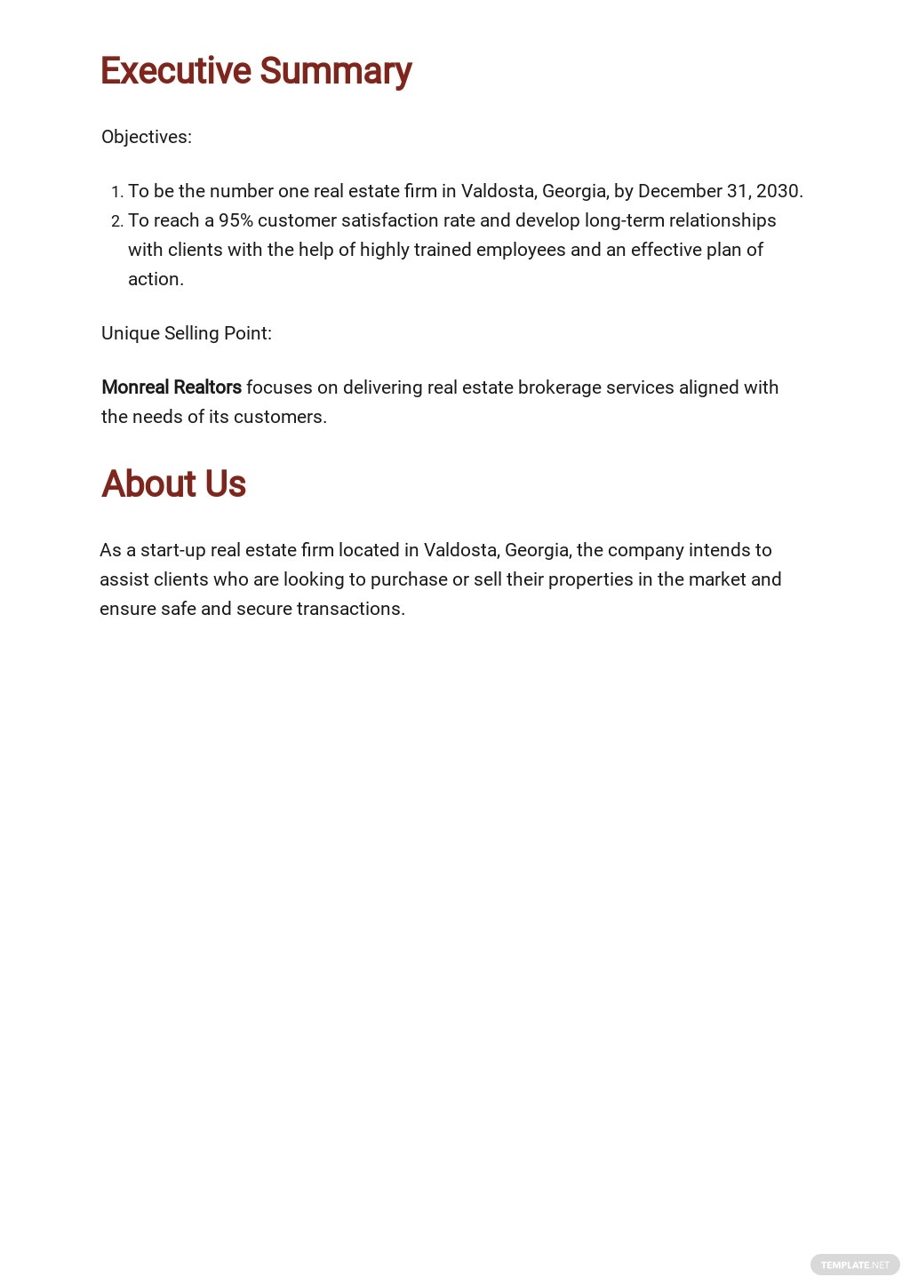 Free Sample Real Estate Business Plan Template 1.jpe