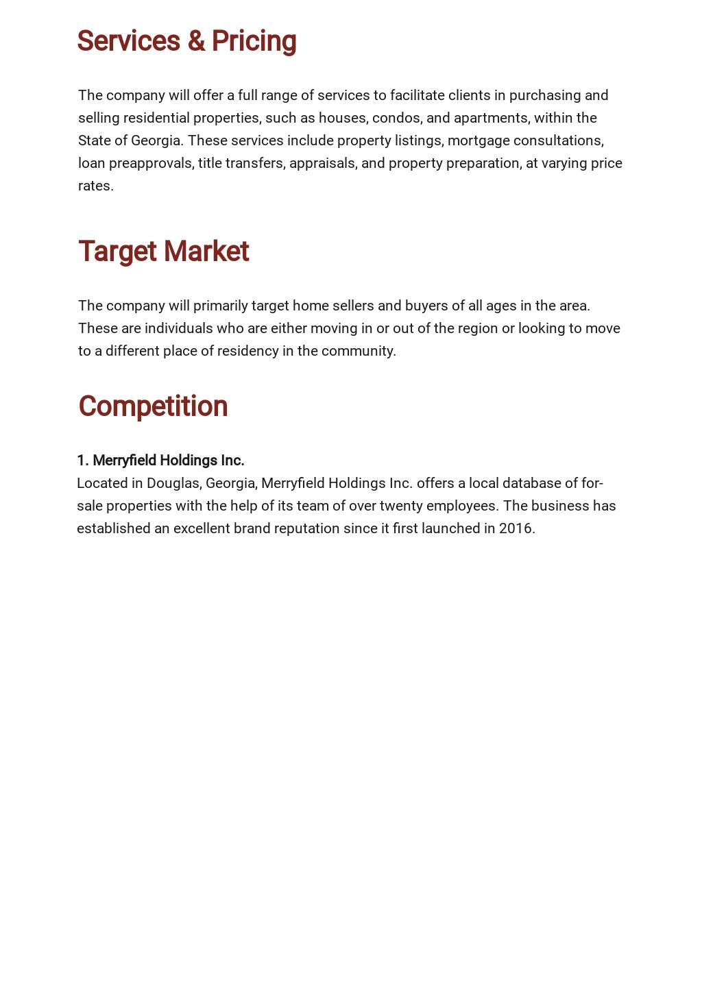 Free Sample Real Estate Business Plan Template 2.jpe