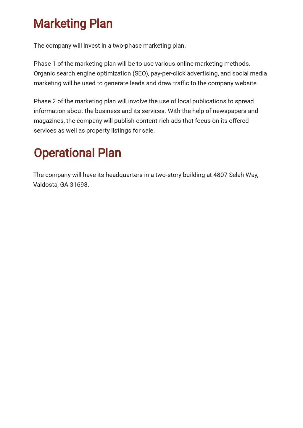 Free Sample Real Estate Business Plan Template 4.jpe