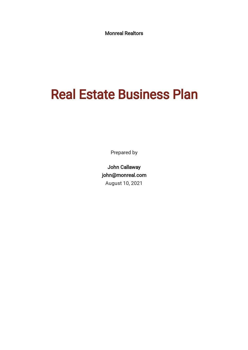 Free Sample Real Estate Business Plan Template.jpe
