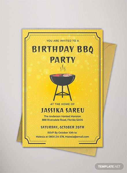 BBQ Birthday Invitation Template
