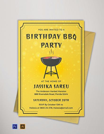 Free BBQ Birthday Invitation Template