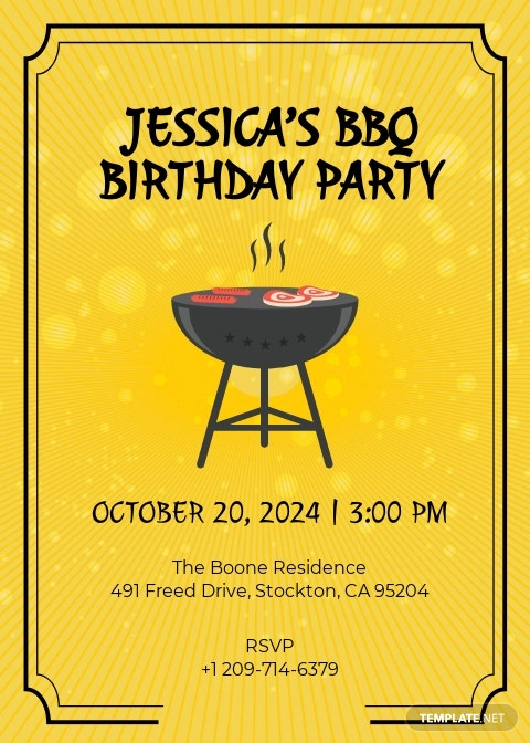 BBQ Birthday Invitation Template