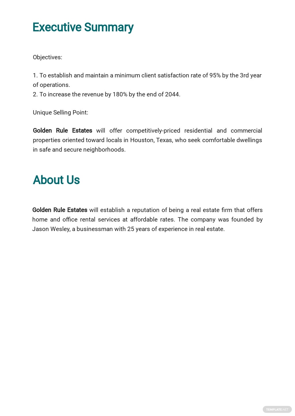 Free Simple Real Estate Business Plan Template 1.jpe