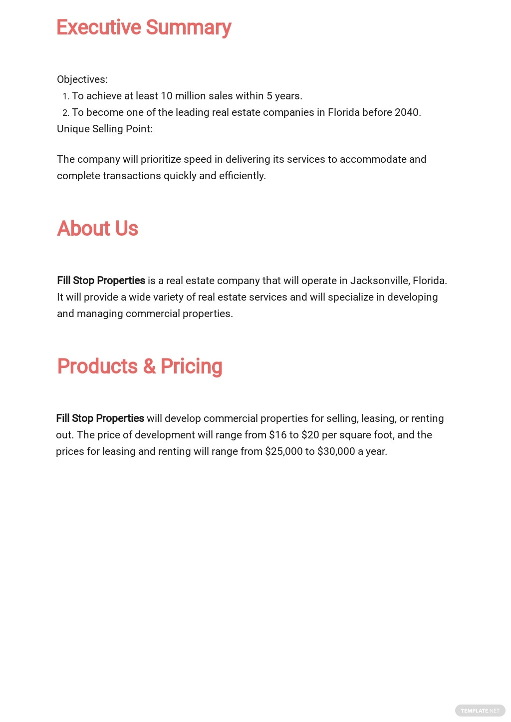 Free Commercial Real Estate Business Plan Template 1.jpe