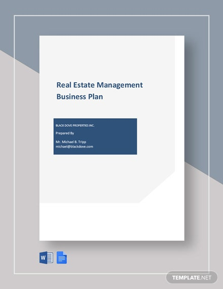 Real Estate Management Business Plan Template