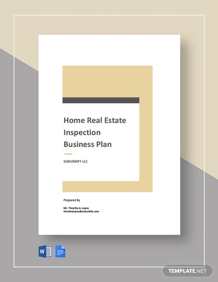 Home Real Estate Inspection Business Plan