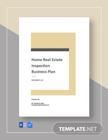 Home Real Estate Inspection Business Plan Template