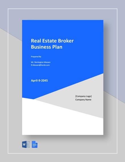 Real Estate Broker Business Plan Template