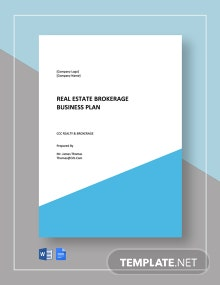 Real Estate Brokerage Business Plan Template