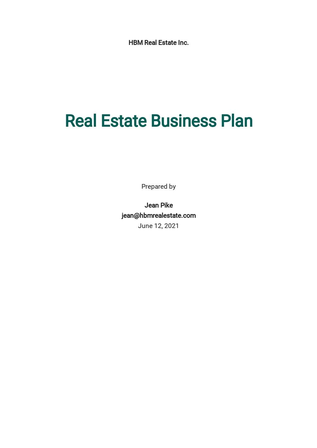 Real Estate Website Business Plan Template.jpe
