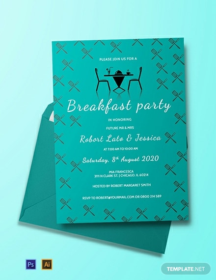 Free Simple Breakfast Party Invitation Template