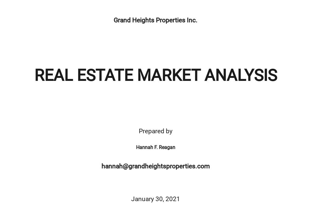 Free Basic Real Estate Market Analysis Template