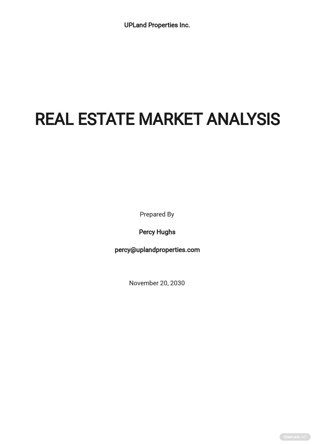 Blank Real Estate Market Analysis Template