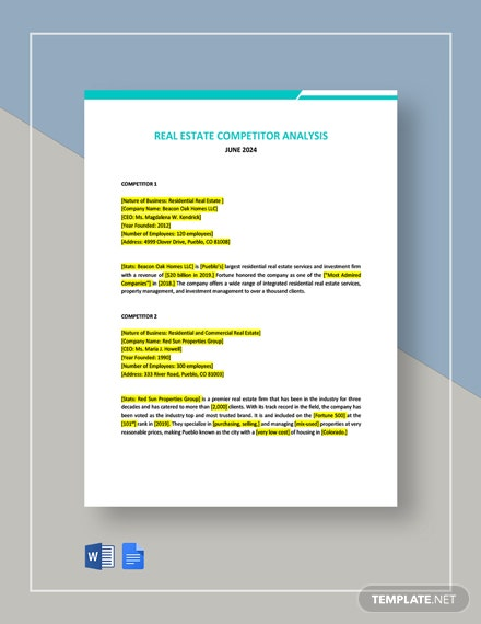 Real Estate Competitor Analysis Template