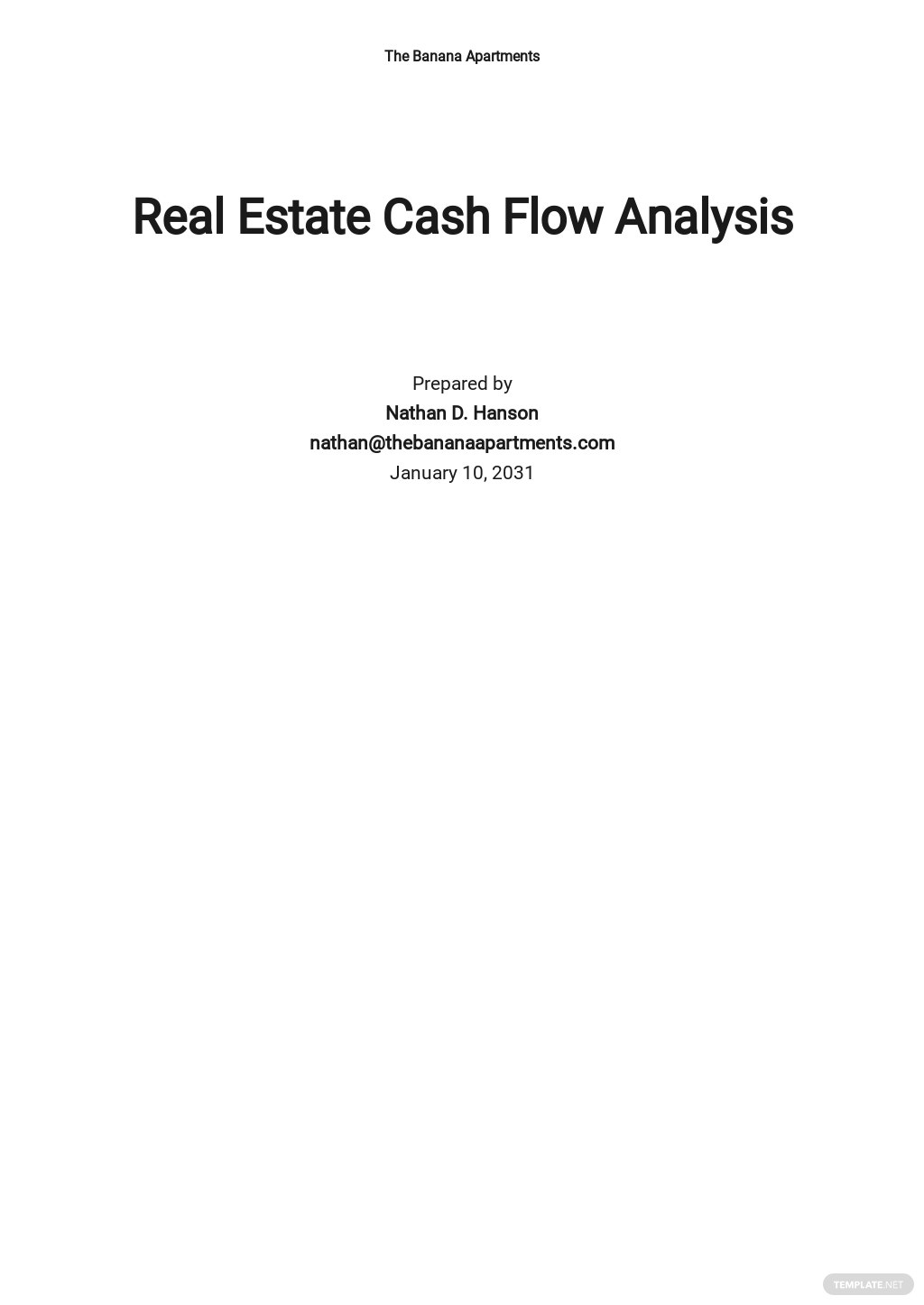 Real Estate Cash Flow Analysis Template