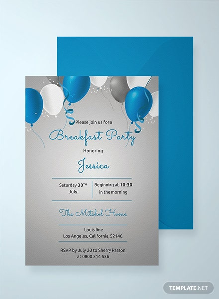 Breakfast Birthday Party Invitation Template