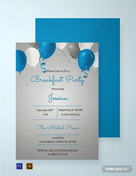 Free Breakfast Birthday Party Invitation Template