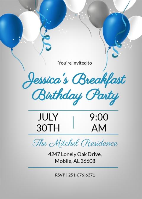 Breakfast Birthday Party Invitation Template