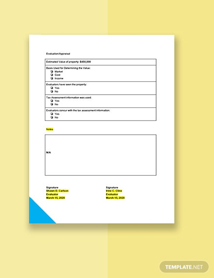 Real Estate Evaluation Form Download