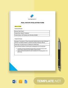 Real Estate Evaluation Form Template