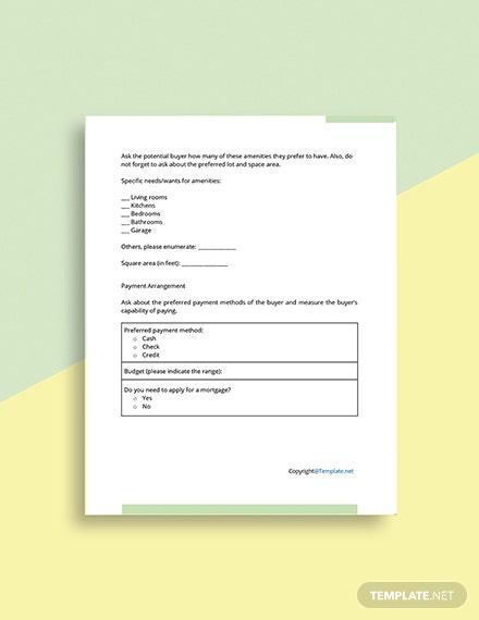 Free Real Estate Buyer Information Form Format