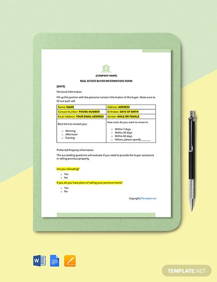 Free Real Estate Buyer Information Form Template