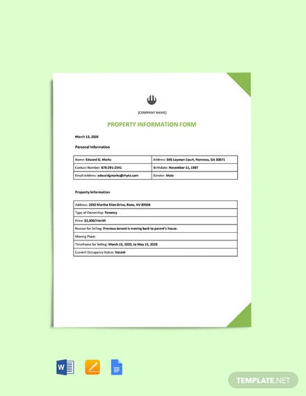 Property Information Form Template
