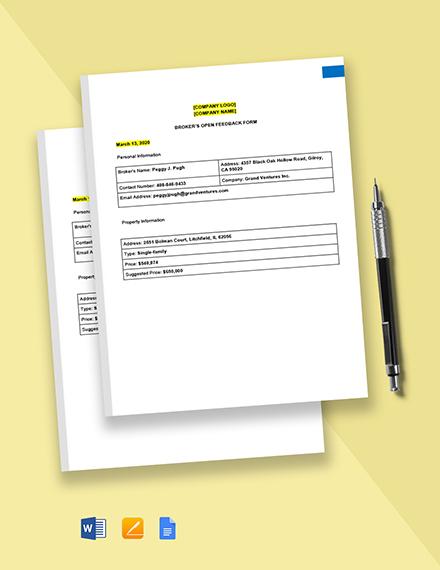 Brokers Open Feedback Form Template