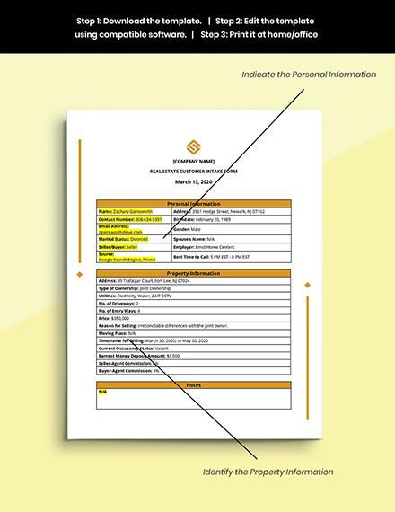 Real Estate Customer Intake Form Format