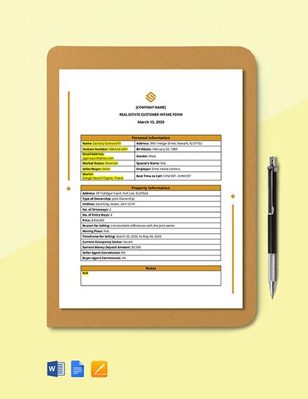 Real Estate Customer Intake Form Template