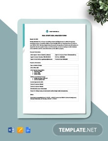 Real Estate Deal Analyzer Form Template