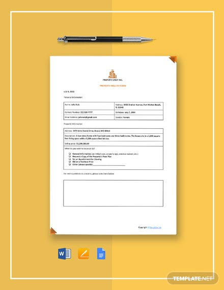 Sample Property Inquiry Form