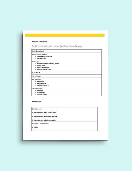 Buyers Final Walk Through Inspection Form template