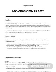 Moving Contract Template