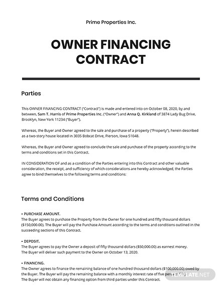 Owner Financing Contract Template