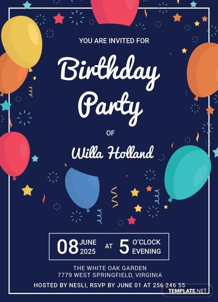 Elegant Birthday Party Invitation Template