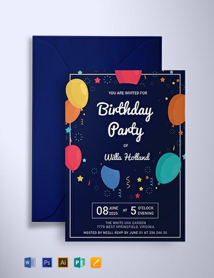 Free Elegant Birthday Party Invitation Template