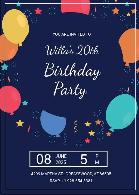 Elegant Birthday Party Invitation Template