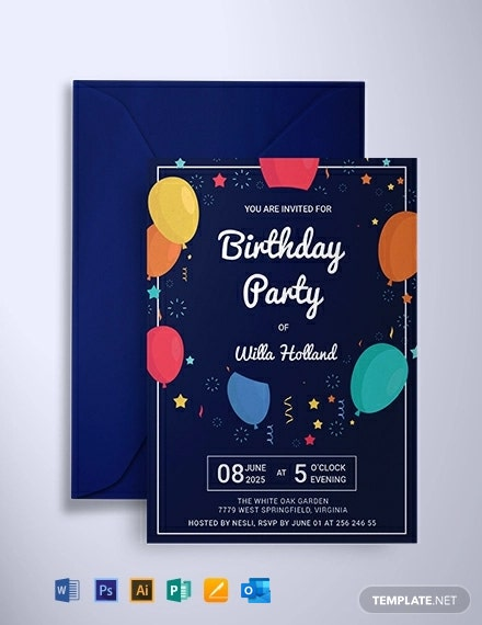 Free Elegant Birthday Party Invitation Template