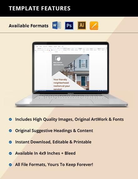 Real Estate Marketing Rack Card Editable