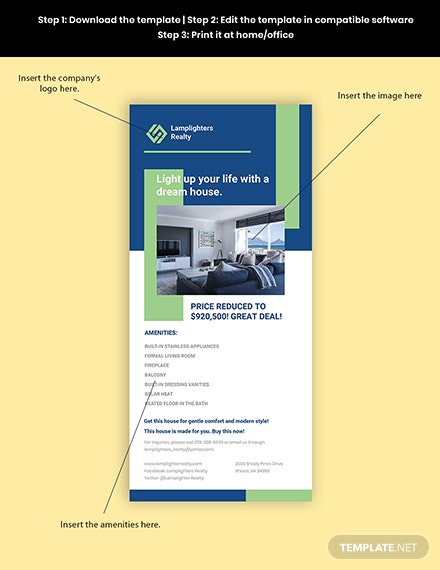 Real Estate Advertisement Rack Card Template Sample