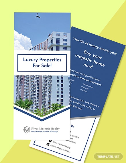 Luxury Real Estate Rack Card Template Format