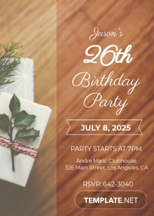 Free 26th Birthday Party Invitation Template